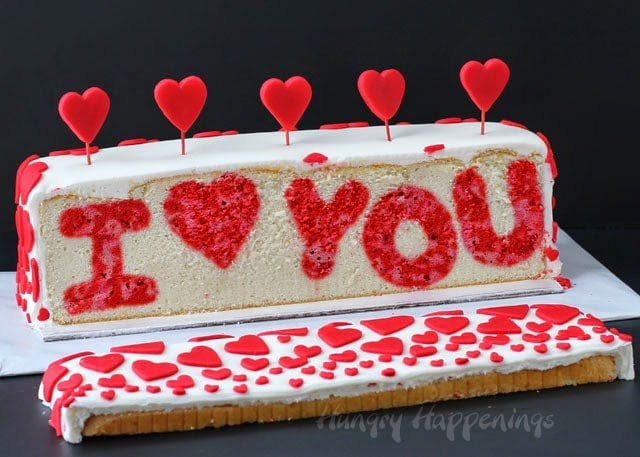 I love you Valentine's Day Reveal Cake from HungryHappenings.com