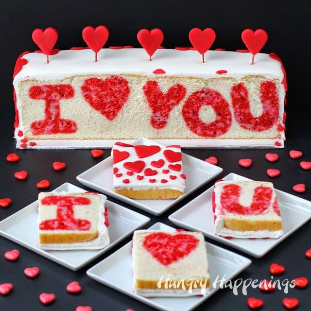 """I ❤ You"" Valentine's Day Reveal Cake from HungryHappenings.com"