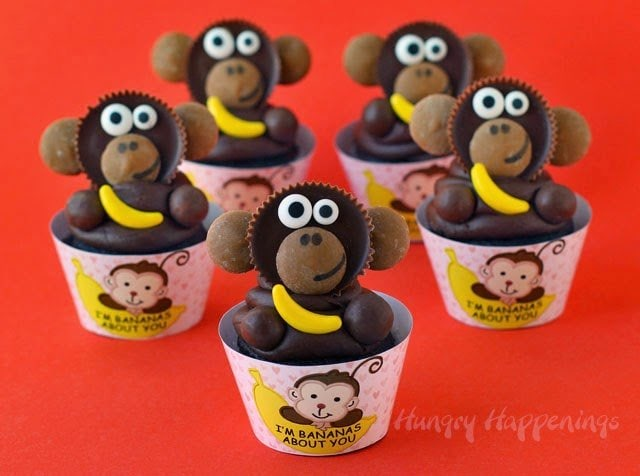Adorable monkey cupcakes topped with Reese's Cup Monkeys make great Valentine's Day treats.