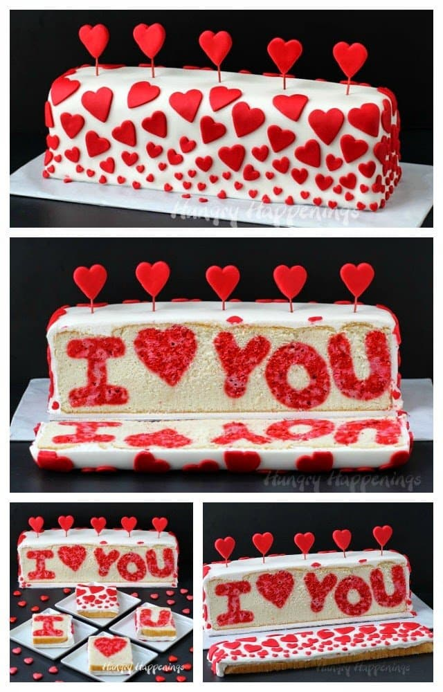 Cut into this beautiful Red and White Heart Cake and you'll find a Raspberry Lemon
