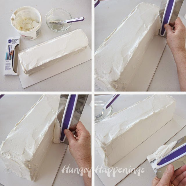 How to frost a long loaf cake.