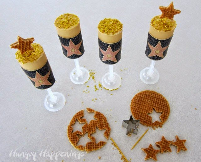 Hollywood Walk of Fame Gold Star Dulce de Leche Push Pops Recipe from HungryHappenings.com