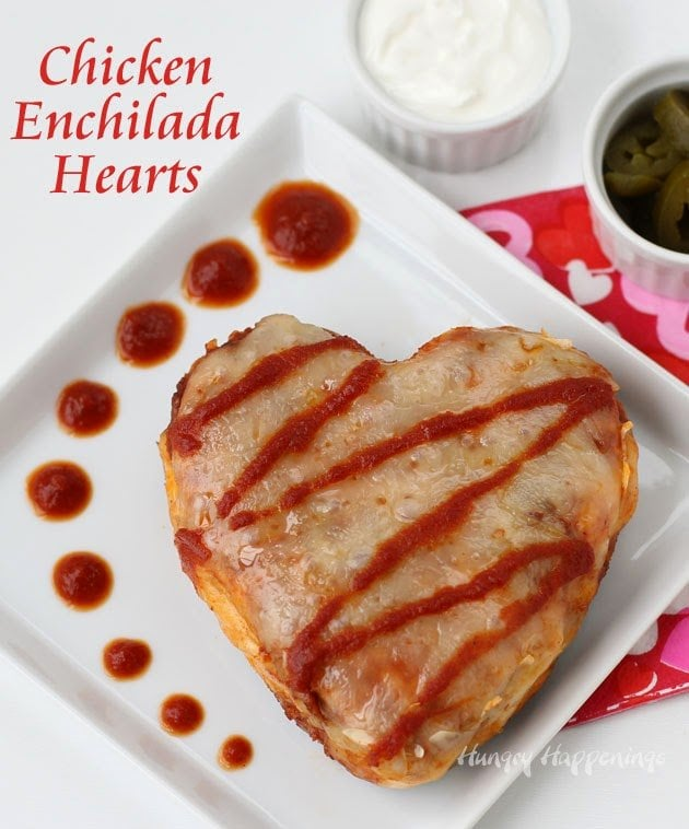 Chicken Enchilada Hearts make a festive dinner for Valentine's Day.