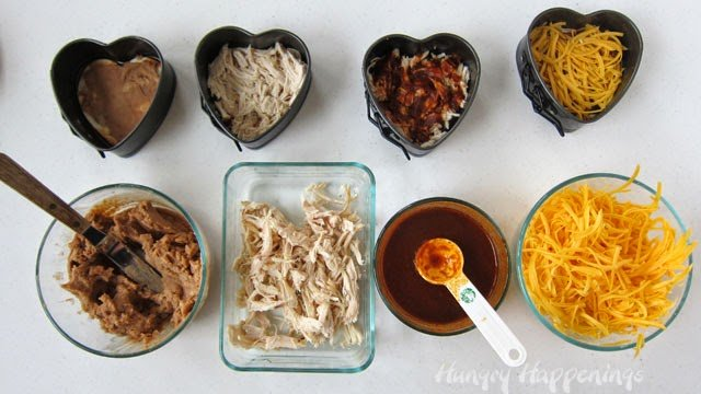 How to make Chicken Enchilada Hearts for Valentine's Day - Tutorial from HungryHappenings.com