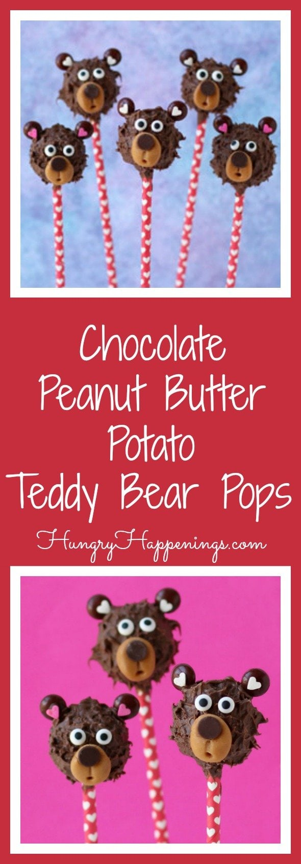 Yes, that title does read, Chocolate Peanut Butter Potato Candy Teddy Bear Pops.  Have you ever had an old fashioned peanut butter potato candy pinwheel before?