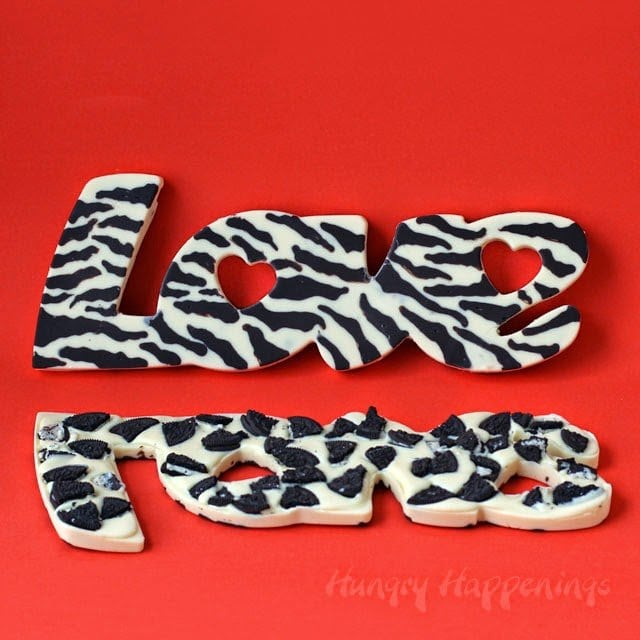 "Get a little wild this Valentine's Day. Give that special someone a handmade Cookies 'n Cream Zebra Print ""Love"" Bars. See the tutorial at HungryHappenings.com"