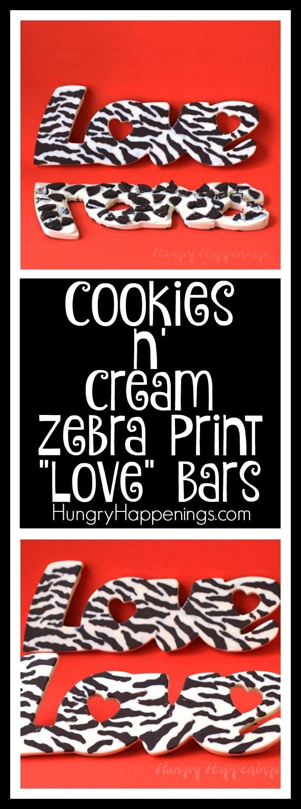 "Get a little wild this Valentine's Day. Give that special someone a handmade Cookies 'n Cream Zebra Print ""Love"" Bar. Get them to embrace their inner animal show you what they're made of."
