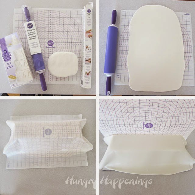 Wilton Fondant Mat makes covering a cake easy.
