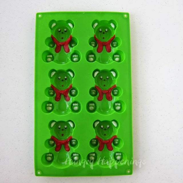How to hand paint candy coating into silicone teddy bear molds - HungryHappenings.com