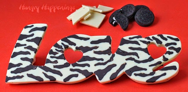 "Cookies 'n Cream Zebra Print ""Love"" Bars. See the tutorial at HungryHappenings.com"