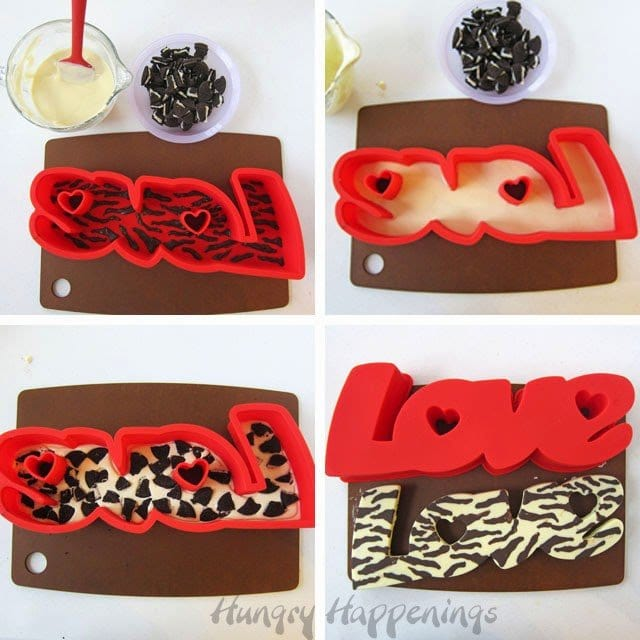 How to make a zebra print cookies and cream candy bar. See tutorial at HungryHappenings.com