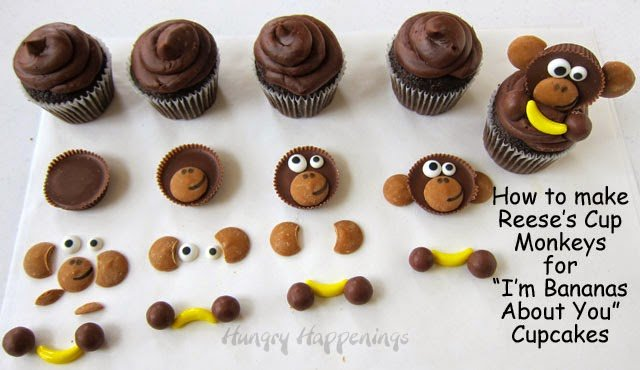 How to make Reese's Cup Monkeys and I'm Bananas About You Cupcakes. Tutorial on HungryHappenings.com