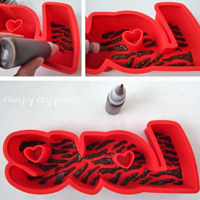 "How to paint chocolate zebra stripes into a ""Love"" silicone mold."