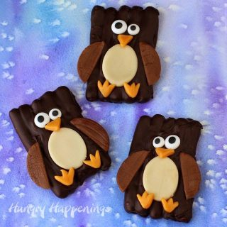 Chocolate Pretzel Penguins