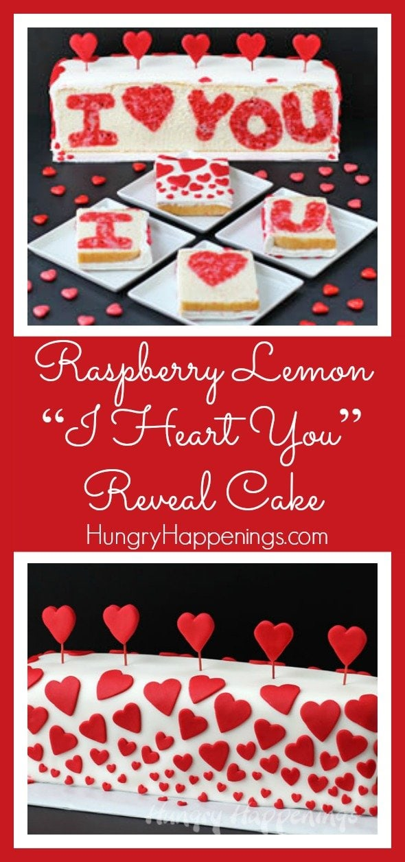 "If you really want to WOW someone special this Valentine's Day, and you have time to spend making something really spectacular, make this Raspberry Lemon ""I ❤ You"" Valentine's Day Reveal Cake. This post is sponsored by Wilton."