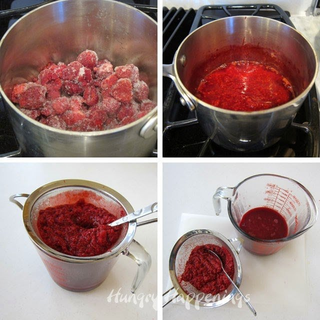 How to make raspberry puree from frozen raspberries.