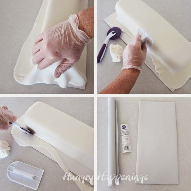 How to smooth fondant over a rectangle cake.
