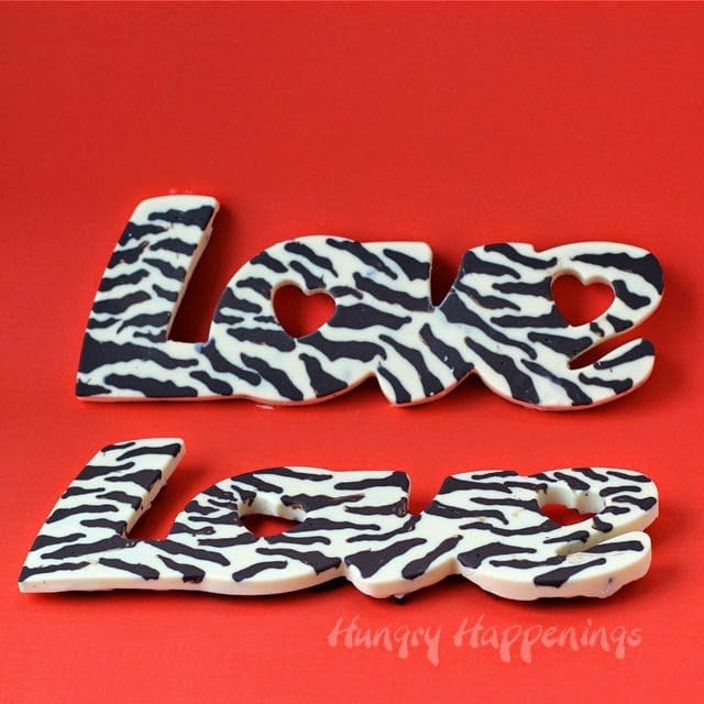 White and Dark Chocolate Zebra Striped Candy Bars for Valentine's Day | HungryHappenings.com