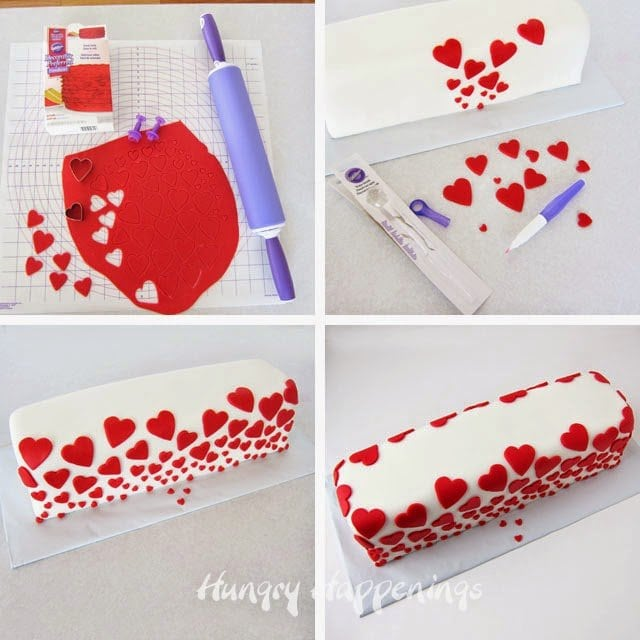 Red fondant heart Valentine's Day Cake
