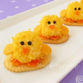 Serve adorably cute cheese ball chicks for your Easter celebration.