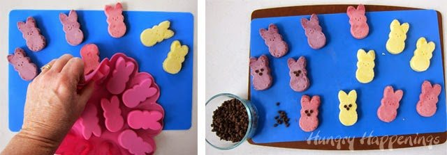 How to make Naturally Colored Raspberry, Blueberry and Lemon Cheesecake Peeps using a Wilton Peeps Silicone Mold. Recipe from HungryHappenings.com
