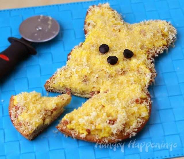 Peeps for Breakfast? Yes, please, especially when they are Egg, Ham and Cheese Breakfast Pizza Peeps. See the recipe at HungryHappenings.com