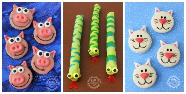 Turning sweet treats into adorably cute or even scary little animals is so much fun and these Oreo Cats & Pigs and Pretzel Pop Snakes are easy enough that kids can help.