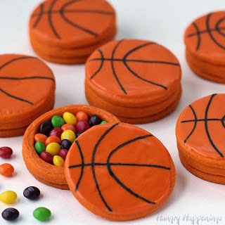 Basketball Piñata Cookies filled with Skittles will score big with your basketball fans. | HungryHappenings.com