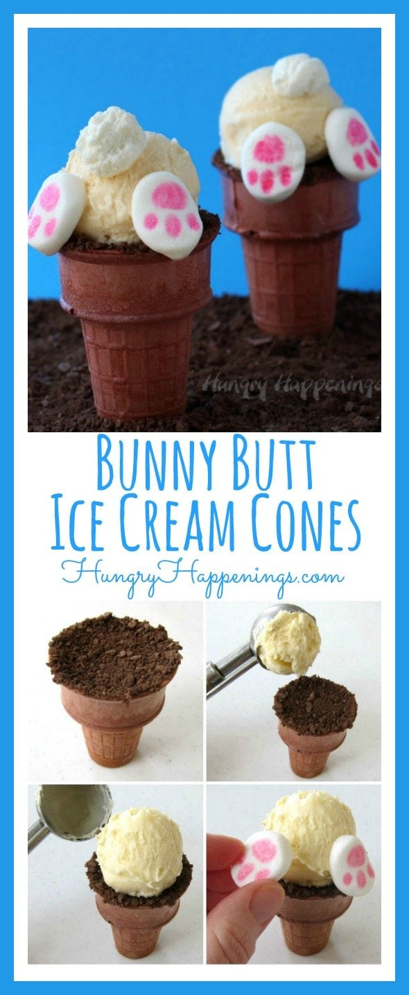 There isn't much cuter than a fuzzy little bunny butt with a puffy white tail and cute little paws and it was so fun turning some ice cream cones into adorably sweet Bunny Butt Ice Cream Cones.