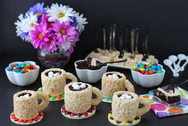 Host a party for your girlfriends and serve these fun Cafe Mocha Rice Krispie Treat Cups. Recipe at HungryHappenings.com