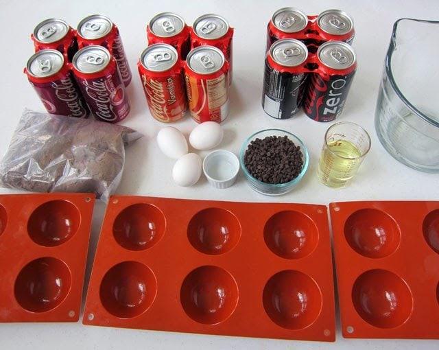 Mini Cherry Coke Basketball Cakes recipe from HungryHappenings.com