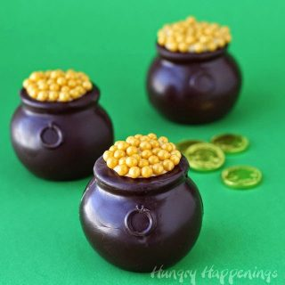 Chocolate Pots of Gold filled with Dulce de Leche Mousse