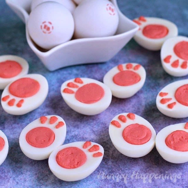 This Easter dress up your deviled eggs by turning them into bunny feet.