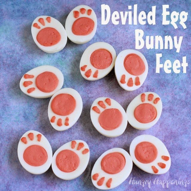 Learn how to turn ordinary deviled eggs into adorable Deviled Egg Bunny FeetLearn at HungryHappenings.com