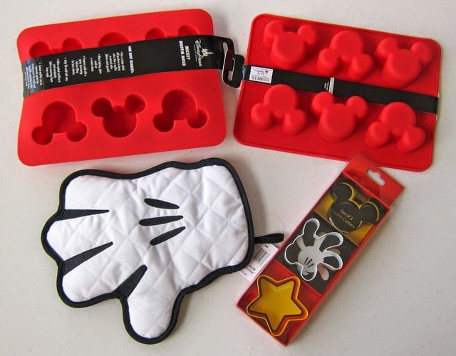 Walt Disney Parks Kitchen Supplies, Mickey Mouse Silicone Mold, Oven Mitt and Cookie Cutters