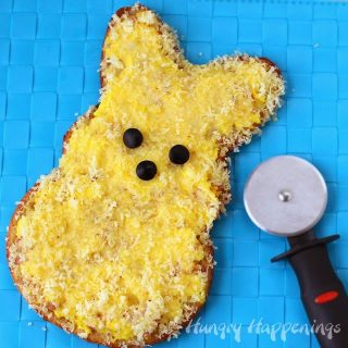 Breakfast Pizza Peeps topped with Egg Ham and Cheese