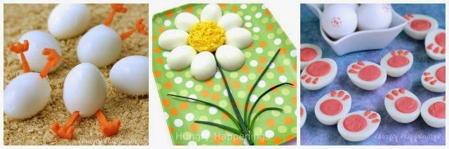 3 fun ways to dress up eggs for Easter. 1- Hatching Hard boiled Chicks 2-Deviled Egg Daisies 3-Deviled Egg Bunny Feet