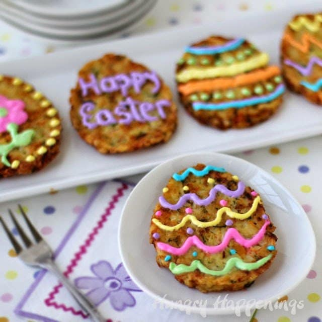 Have fun at Easter breakfast by having your family decorate Easter Egg Veggie Fritters.