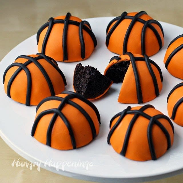 Mini Cherry Coke Basketball Cakes recipe from HungryHappenings.com