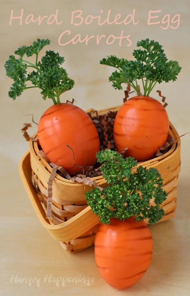 It's super easy to turn ordinary hard boiled eggs into these fun Hard Boiled Egg Carrots for Easter. Tutorial at HungryHappenings.com