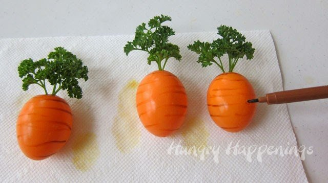 How to make Hard Boiled Egg Carrots from HungryHappenings.com