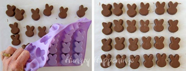 Use Reese's Spread to make an easy 2 ingredient fudge then pipe the fudge into silicone bunny molds.