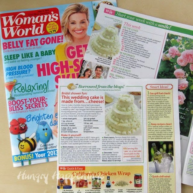 Wedding Cake Cheese Ball in Woman's World Magazine