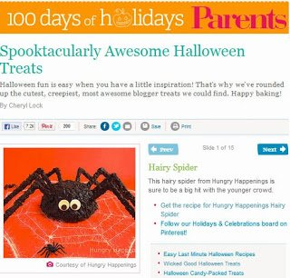 Spider cake featured on Parents Magazine
