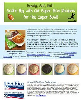 Football Rice Cakes in USA rice newsletter