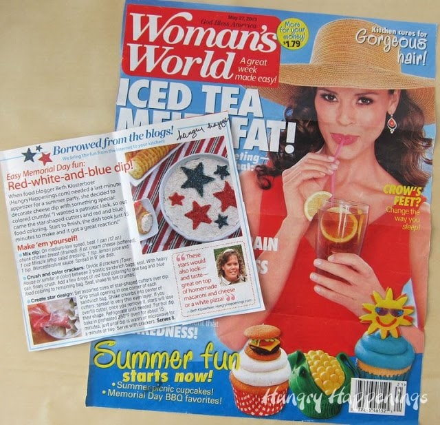 Red white and blue chicken dip in Woman's World Magazine