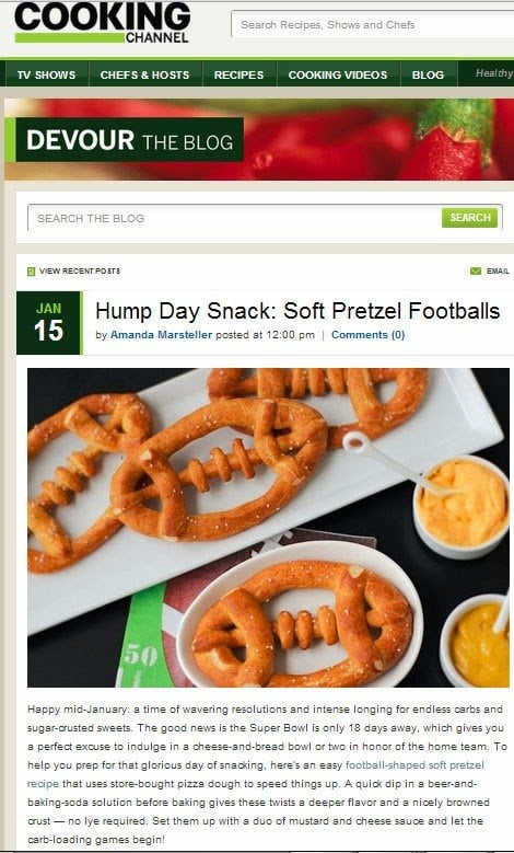 Soft Pretzel Footballs featured on Cooking Channel