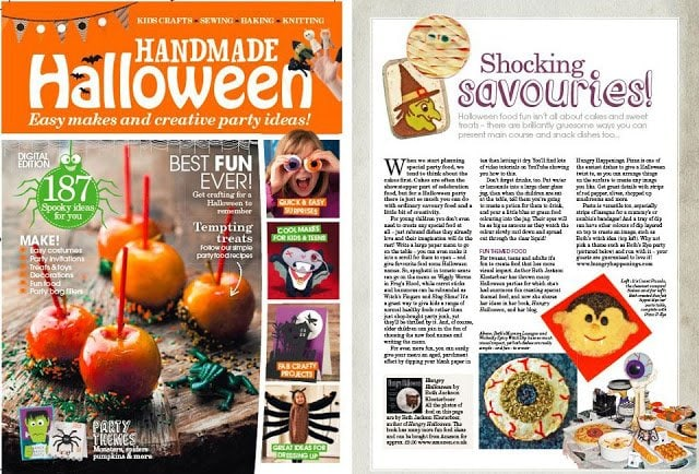 Hungry Halloween cookbook featured in Handmade Halloween Magazine