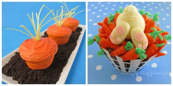 Cute Easter Cupcakes - Carrot Top Cupcakes and Hungry Bunny Cupcakes