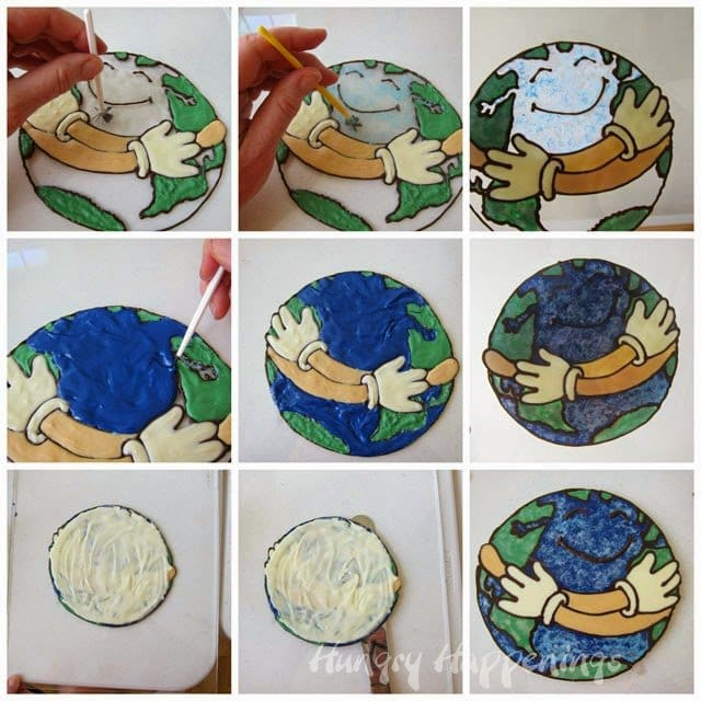 How to use a coloring page to create a chocolate cake topper for Earth Day or any occasion. Tutorial at HungryHappenings.com